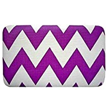 Cute & Trendy! Chevron Zig Zag Print Flat Wallet Clutch Purse (Purple)