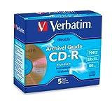 Verbatim 700MB 52x UltraLife Archival Grade Gold Recordable Disc CD-R, 5-Disc Jewel Case 96319