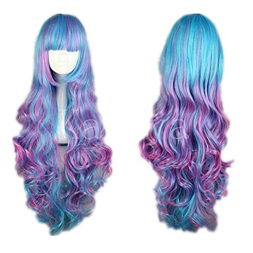 Kadiya Cosplay Wig Harajuku Girl Long Curly Multi Color Rainbow Lolita Hair