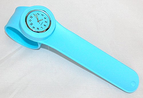Slap On Silicone Rubber Fashion Bracelet Watch. Quartz Movement Dial. Brand New With Battery. Light Blue