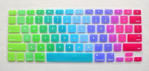 Folox® Colored Rainbow Silicone Keyboard Protector Cover for Apple Macbook 13