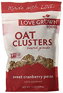 Love Grown Foods Oat Clusters and Love, Sweet Cranberry Pecan, 12-Ounce (Pack of 3)