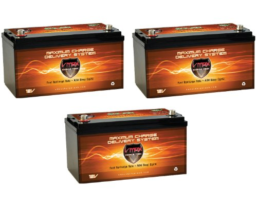 Qty 3 Vmaxtanks Vmaxslr175 Agm Deep Cycle 12V 525Ah Battery For Use With Pv Solar Panel Wind Turbine Gas Or Electric Power Backup Generator Or Smart Charger For Off Grid Sump Pump Lift Winch Pallet Jack And Any Other Heavy Duty Application