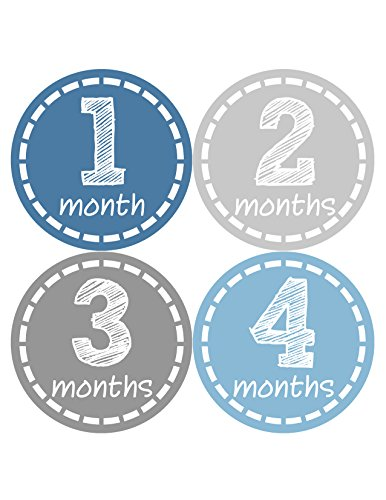 Months in Motion 055 Monthly Baby Stickers - Baby Boy - Month 1-12 - Milestone Age Sticker Photo Prop