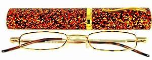 Reading Glasses~Metal Frame~Spring Hinge~Tube Case~Tortoise +2.25