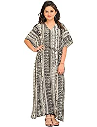 Exotic India Black And White Printed Kaftan With Waist Sash - Black