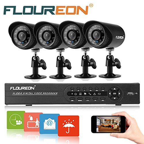 Buy Discount FLOUREON 8CH 960H Onvif Hybrid DVR with 4 Night Vision Built-in Waterproof LED High Res...