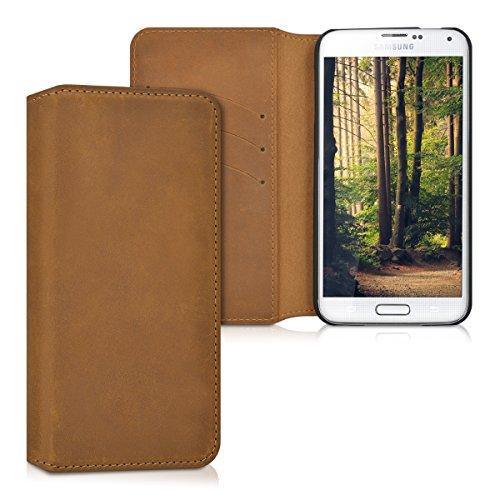 kalibri-Echtleder-Tasche-Hlle-fr-Samsung-Galaxy-S5-S5-Neo-S5-Duos-Case-mit-Fchern-und-Stnder-in-Cognac