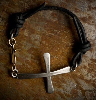 Mens Black Leather Coptic Cross Bracelet Sterling silver Coptic cross on black leather with a brass hook clasp. Perfect for Father's Day, Birthday, Anniversary or Christmas