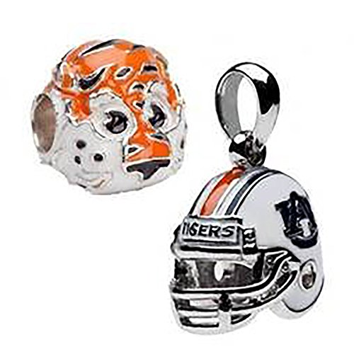 Auburn Tigers 3-D Bead Charms - Set of 2 - 1 Football Helmet + 1 Aubie - Fits Pandora & Others