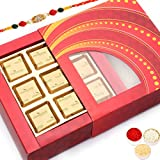 Rakhi Gifts Sweets- Red Glitter 9 Pcs Mewa Bites Box R4
