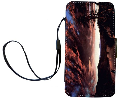 Rikki Knighttm Frederick Edwin Church Art Twilight In The Wilderness Pu Leather Wallet Type Flip Case With Magnetic Flap And Wristlet For Apple Iphone 4 & 4S front-571245