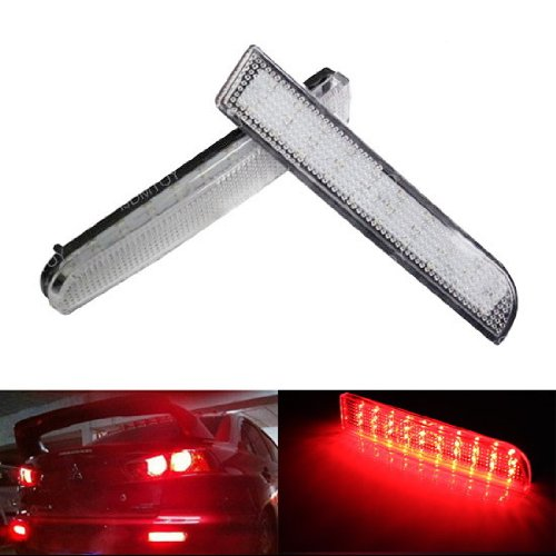Ijdmtoy Clear Lens Led Bumper Reflector Lights For Mitsubishi Lancer, Evolution X Or Outlander