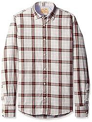 Rosé Pistol Men's Long Sleeve Victorville Checked Shirt, Grey/Pink Plaid, S
