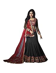 Grey Black And Red Georgette Fabric Designer Bridal Lehenga