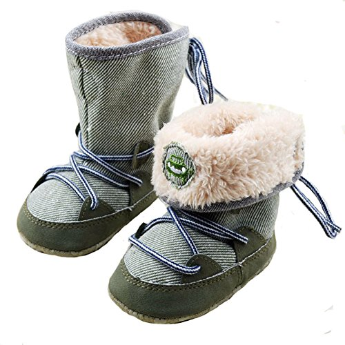 Merrym Soft Sole Anti-Slip Warm Winter Prewalker Toddler Boots 6-12 Months Green