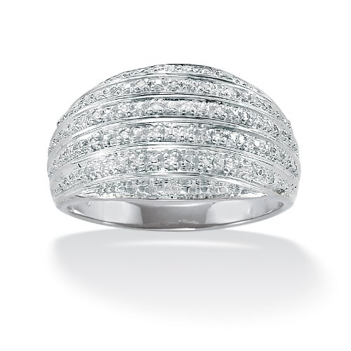 Lux Platinum Over Sterling Silver Diamond Accent Multi-Row Dome Ring Size 6