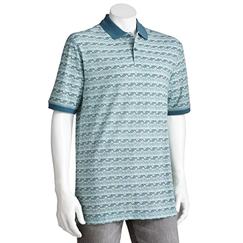 Haggar Mens Patterned Pique Polo Shirt