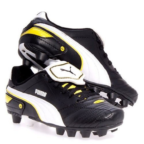 PUMA Kid's Esito Finale R HG JR Black White Yellow Soccer Cl