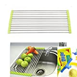 Stainless Steel Kitchen Sink Crockery Vegetable Wash Utensils Drain Rack - Random Color