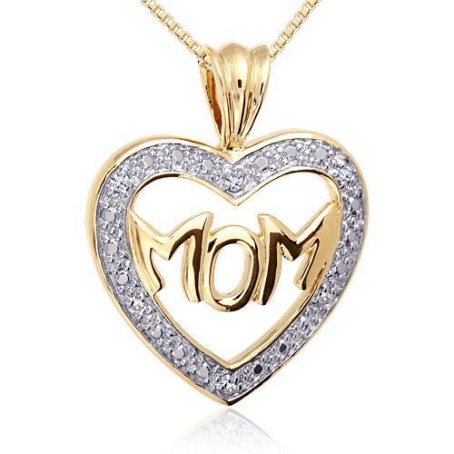 Revoni Love Mom, With All Your Heart: Gold Vermeil Classic MOM Heart Pendant with Cubic Zirconia