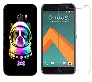 Snoogg Dog Astronaut Combo Designer Protective Back & Shatter Proof Tempered Glass For HTC DESIRE 10 LIFESTYLE