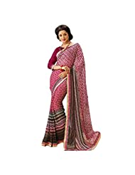 AG Lifestyle Pink Faux Georgette Saree With Unstitched Blouse AKS2038