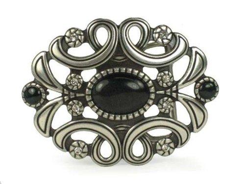 Ladies Oval Rhinestone Flower Cut-out Belt Buckle Color: Black