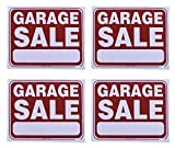 Pack of 4 GARAGE SALE Signs, Flexible Thin Plastic Sheet, Red and White, 16.5