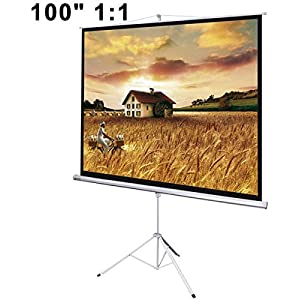 100 1:1 Manual Floor Tripod Stand Projector Matte Screen Design Viewing Area 70x70 w/ Metal Case & Adjust Height