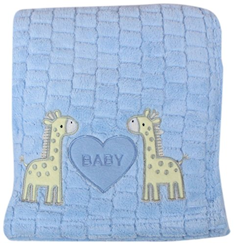 My Baby Giraffe Design Plush Blanket, Blue