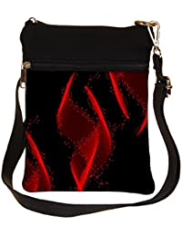 Snoogg Red Florasen Design Cross Body Tote Bag / Shoulder Sling Carry Bag