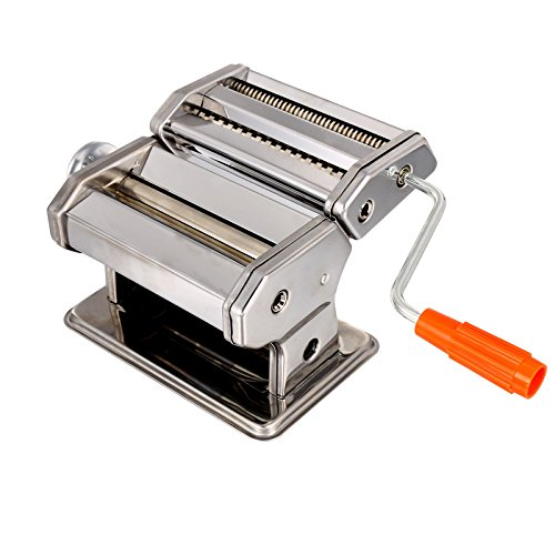 Pasta Maker, Stainless Steel Pasta Machine Pasta Roller Cutter for Spaghetti Noodle Fettuccine, Removable Crank Handle - 2 Blades (Pasta Machine Cutter compare prices)
