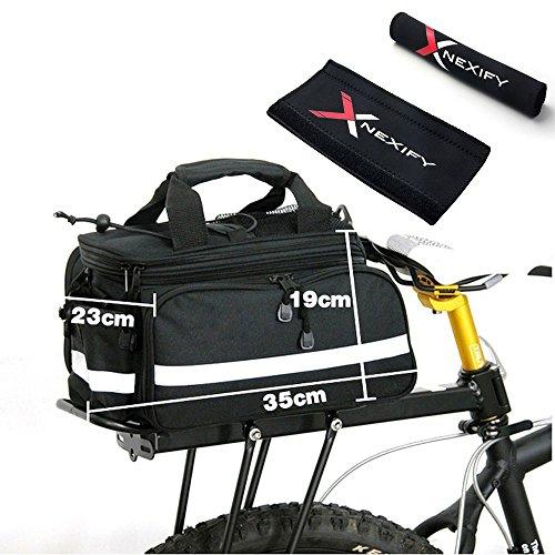Nexify Cycling Bicycle Bike Pannier Rear Seat Bag Rack Trunk Shoulder Handbag Black + Bike Chainstay Protector front-468658