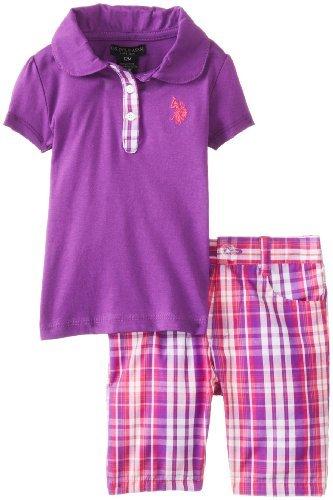 U.S. Assn.-Polo da bambina, Set da 3 pezzi per bambini-Maglietta e pantaloncini Delta-Plaid, colore: viola, 12 mesi, colore: viola a Delta, misura: da 12 mesi da neonato Baby, bambino