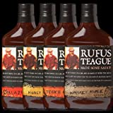 Rufus Teague BBQ Sauce Sampler 16oz Flask Shaped Bottle (Variety Pack of 4 Different Flavors)