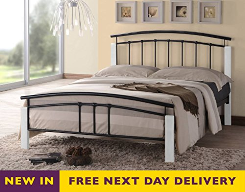 5c464a20af70 Best Deal Time Living 4ft6 Double Tetras Black and White Bed Bed ...