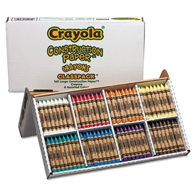 """Construction Paper Crayons, Classpack, Wax, 20 Sets Of 8 Colors, 160/Box"" front-1056089"