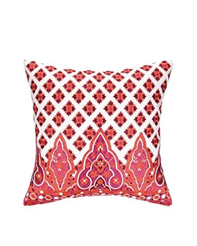 Nanette Lepore Villa Moroccan Border Embroidered Pillow, Red
