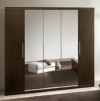 Kleiderschrank Schrank 5430 5-turig mit Spiegel sonoma eiche dunkel