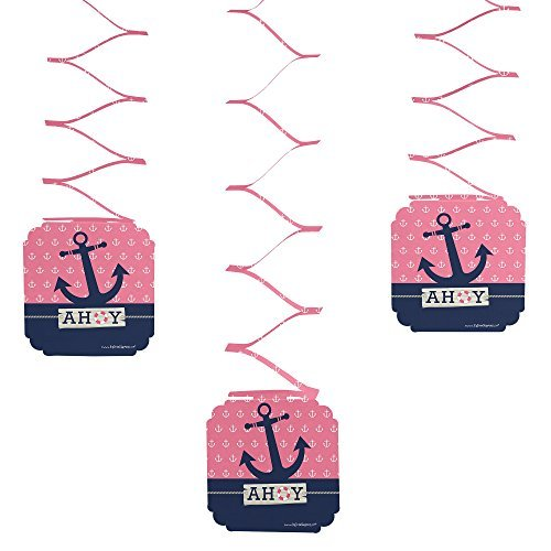 Ahoy - Nautical Girl - Party Hanging Decorations - 6 Count