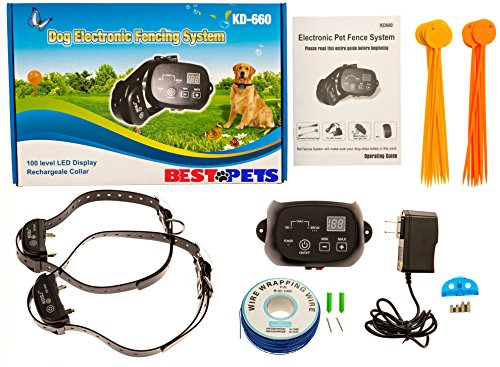 Wireless Underground Electric Dog Fence, Invisible, With 2 Shock Collars, Waterproof, Hidden System, In Ground, Perimeter Fence, Flags, Rechargable, For...