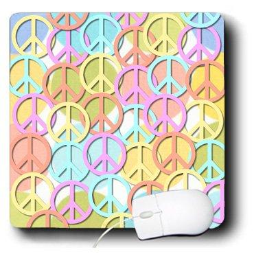 mp_53213_1 Lee Hiller Designs 60s Retro - Retro 60s Pastel Peace Signs on Pastel Dots - Mouse Pads