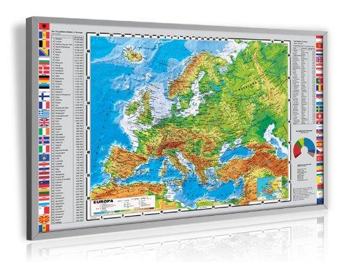 Pinnwand Europa physisch Deluxe 90 x 60 cm, im Alurahmen