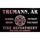qy51152-r FIRE DEPT TRUMANN, AR ARKANSAS Firefighter Neon Sign Barlicht Neonlicht Lichtwerbung