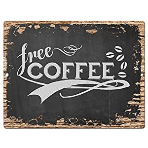 Free coffee chic sign rustic vintage retro for Bar decor amazon