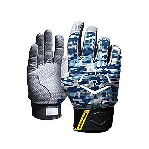 EvoShield ProStyle Protective Adult Batting Gloves A140 (Navy/Columbia Camo, Medium)