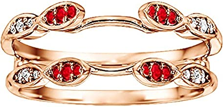 14k Gold Infinity Wedding Ring Enhancer with Diamonds and Ruby 032 ct twt