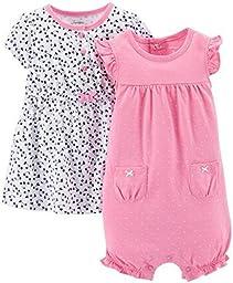 Carter\'s Baby Girls\' 2 Piece Dress & Romper Set (Baby) - Pink - 3 Months