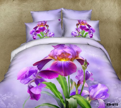 Queen King Size 100% Cotton 7-Pieces 3D Purple Flowers Green Leaf Floral Prints Fitted Sheet Set With Rubber Around Duvet Cover Set/Bed Linens/Bed Sheet Sets/Bedclothes/Bedding Sets/Bed Sets/Bed Covers/ Comforters Sets Bed In A Bag (Queen) front-656195